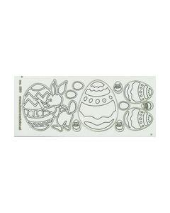 Sticker Transperant Goud Eieren en Paashaas 232_small