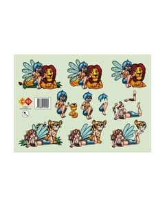 Card Deco HJ 3803 leeuw tijger met meisje_small