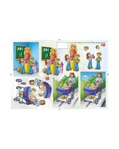 Card Deco knipvel CD10002 School juf Kinderen_small