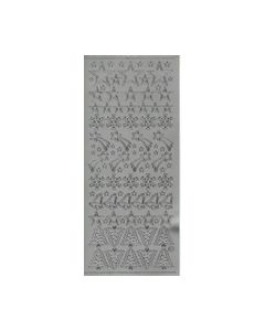 Sticker 1011 Zilver sterren Klokken kerstbomen_small
