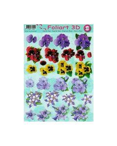 Foliart 3D 610 Violen lila bloemen_small