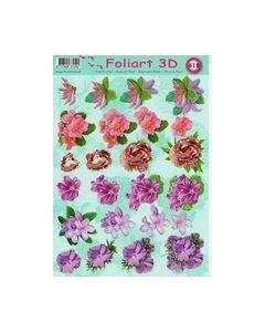 Foliart 3D 618 bloemen Lila paars rood enz._small
