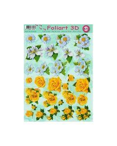 Foliart 3D 621 bloemen wit Geel_small