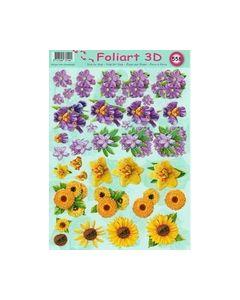 Foliart 3D 558 bloemen lila geel_small