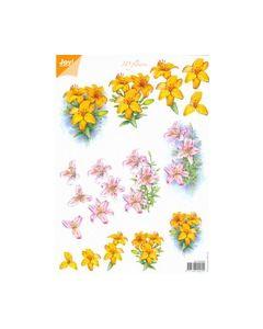 Joy crafts 6010 0023 3D flowers geel rose_small