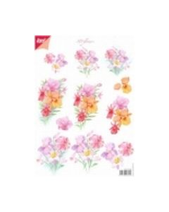 Joy Crafts 6010 1008 3D flowers rose oranje lila_small