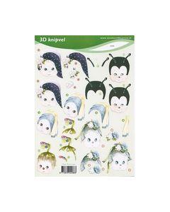 Voorbeeldkaarten 3D knipvel Meisje 2286