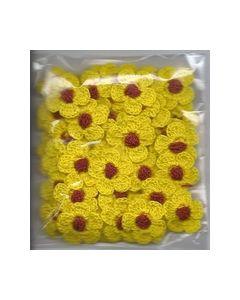 Crochets gehaakte bloemen nr.1315 Geel hart bruin_small