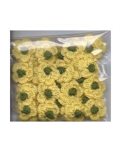 Crochets gehaakte bloemen nr.1316 Geel hart groen_small