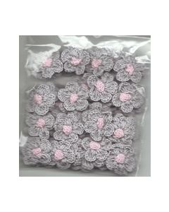 Crochets gehaakte bloemen nr.1319 Grijs hart rose_small