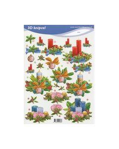 3D Knipvel voorbeelkaarten Kerststukjes kaarsen 2484_small