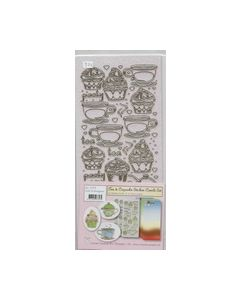 Tea en Cupcake stickers combi set Gold blue green 61.7575_small