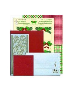 LCD kerstbal kaartenpakket rood 51.6004_small