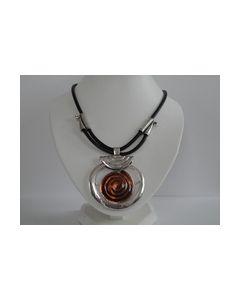 Collier ronde hanger met zilver en bruine kleur 0000004_small