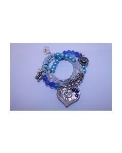 Armband mix blauw met zilverkleurig hartje 0004008_small