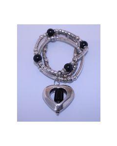 Armband Zwart zilverkleurig 000410_small