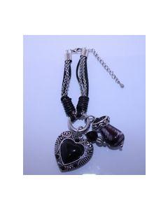 Armband Zwart zilver kleurig 000411_small