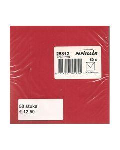 Enveloppen 14x14 cm 50 stuks Rood vierkant 25812_small