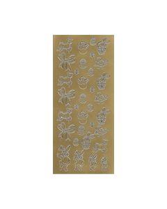Sticker pasen kleur goud nr.301 Lammetjes-kuiken-ei-strikje_small