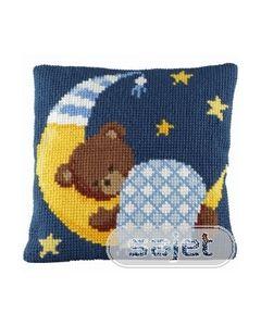kruissteekkussen slapend beertje (blauw) 003.272_small