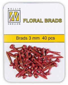 Brads 3mm mini 40 stuks FLP GB 006 Red glitter splitpennen