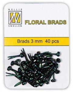 Brads 3mm mini 40 stuks FLP GB 001Black gliter splitpennen