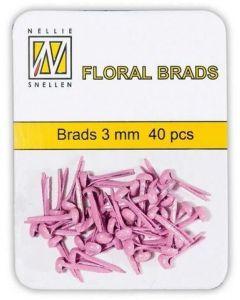 Brads 3mm mini 40 stuks FLP GB 003 Pink glitter splitpennen