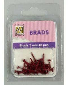 Brads 3mm mini 40 stuks FLP BR 005 Christmas Red splitpennen mini