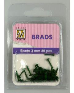 Brads 3mm mini 40 stuks FLP BR 003 Christmas Green splitpennen