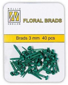 Brads 3mm mini 40 stuks FLP GB 007 Bottle green glitter splitpennen