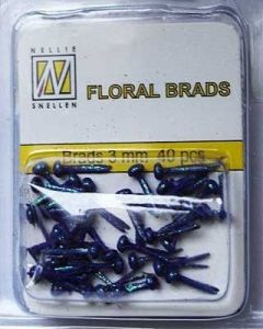 Brads 3mm mini 40 stuks FLP GB 008 purple glitter splitpennen