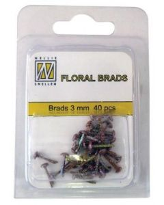 Brads 3mm mini 40 stuks FLP GB 14 Dark Brownsplitpennen mini glitter
