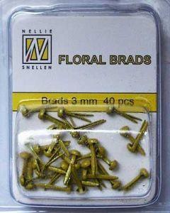Brads 3mm mini 40 stuks FLP GB 009 Yellow glitter splitpennen